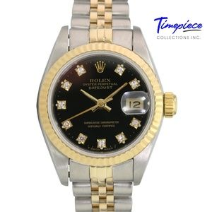 Rolex Womens Datejust Black Diamond Dial 26mm